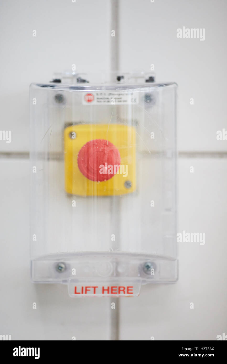 Swimming pool emergency red button alarm Stock Photo ...