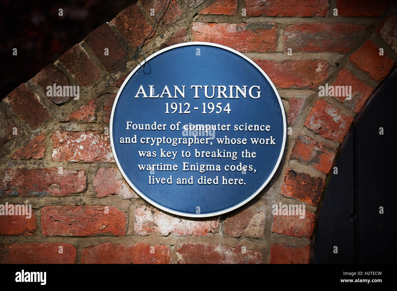 Alan Turing OBE house Wilmslow   pioneering English computer scientist, mathematician, logician, cryptanalyst and - Stock Image