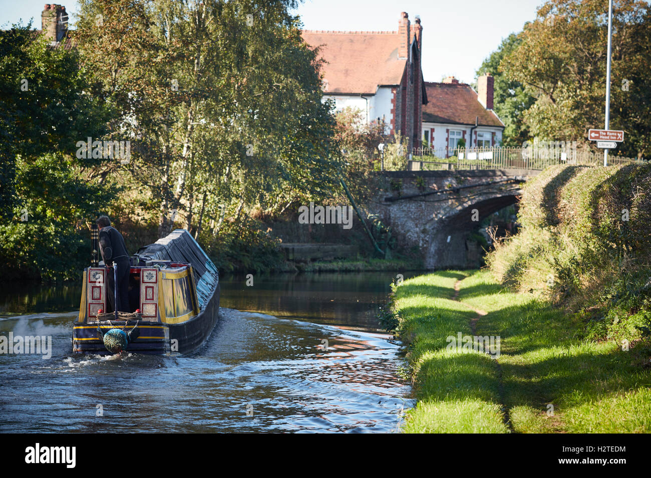 Warrington Bridgewater Canal Grappenhall  Boat canals narrowboat stream narrow club stoppages canalside list owner - Stock Image