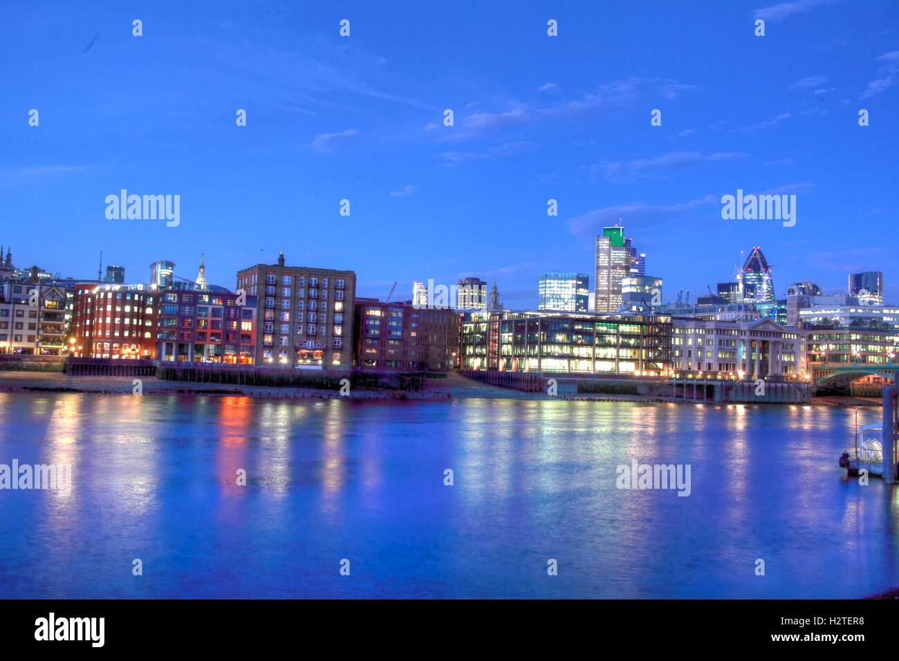 River Thames Panorama, London, England - Stock Image