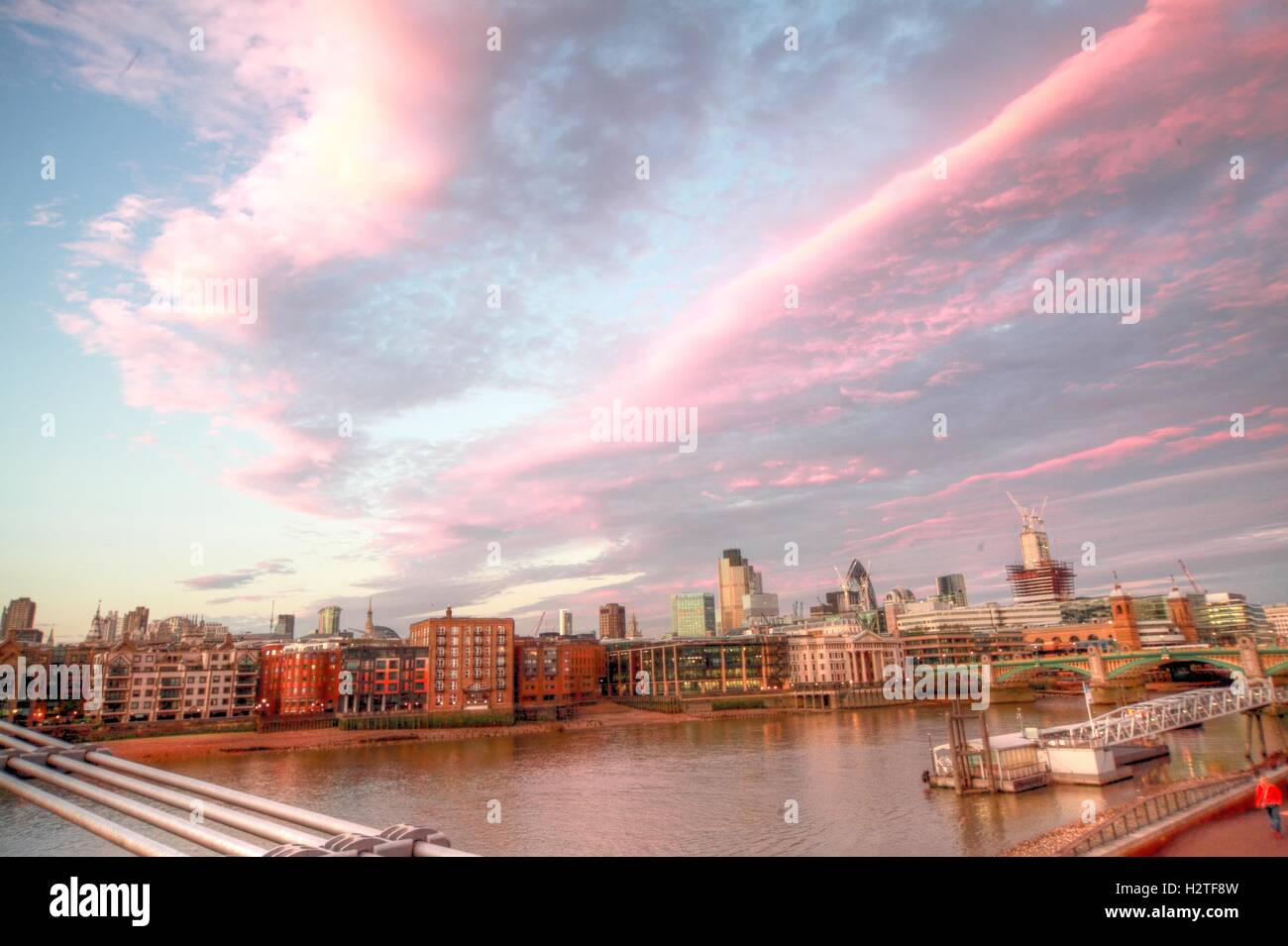 River Thames Panorama, London, England with stunning sky - Stock Image