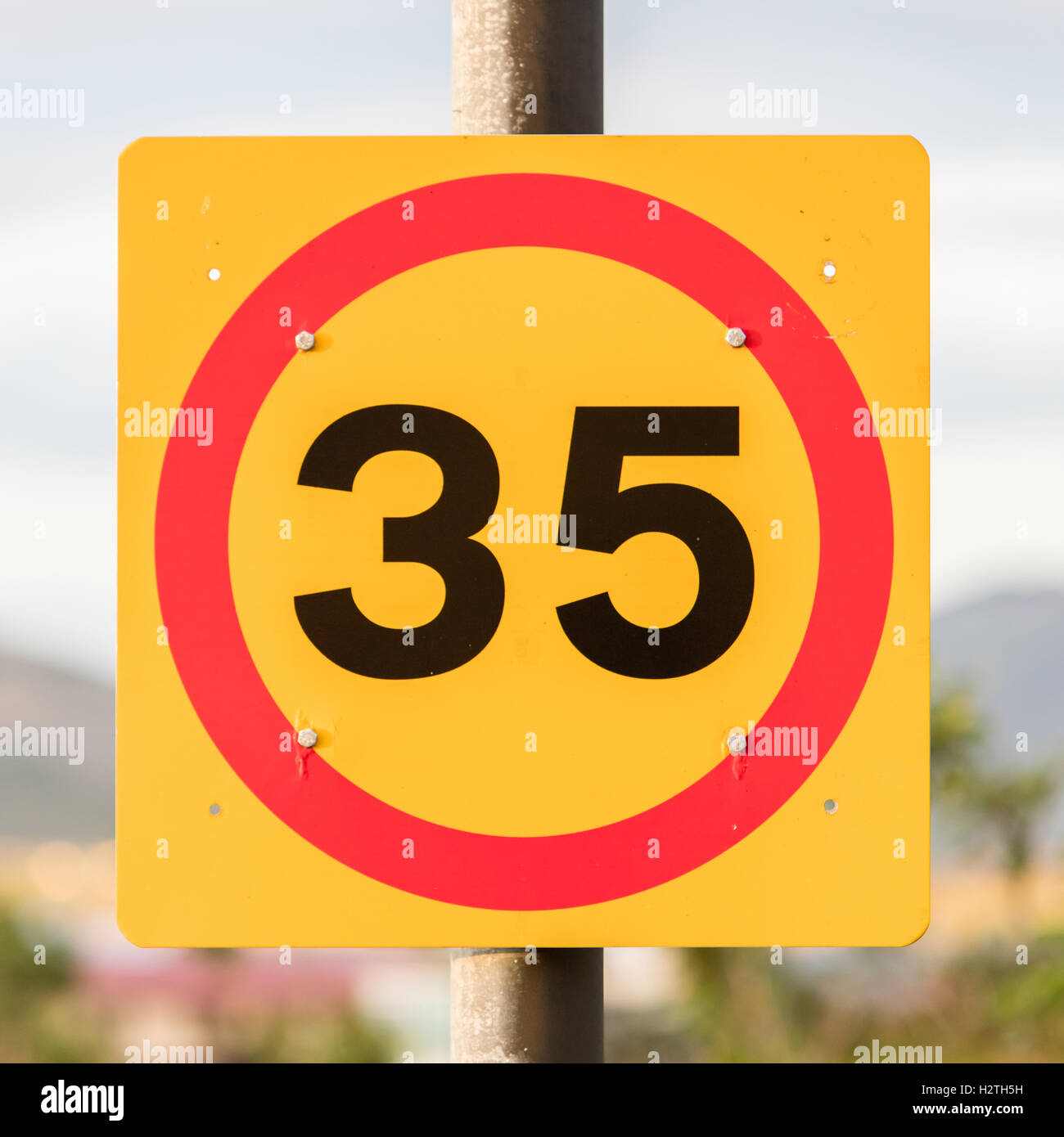 Icelandic traffic sign restricting speed to 35 kilometers per hour - Stock Image