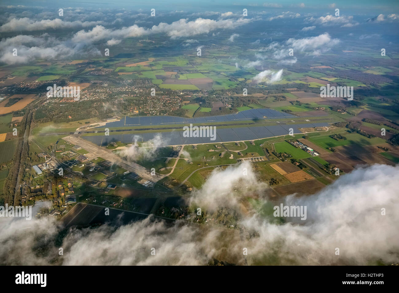 Aerial picture, former air base Ahlhorn, former military airport of Ahlhorn ETNA, Emstek, Lower Saxony, Germany, - Stock Image