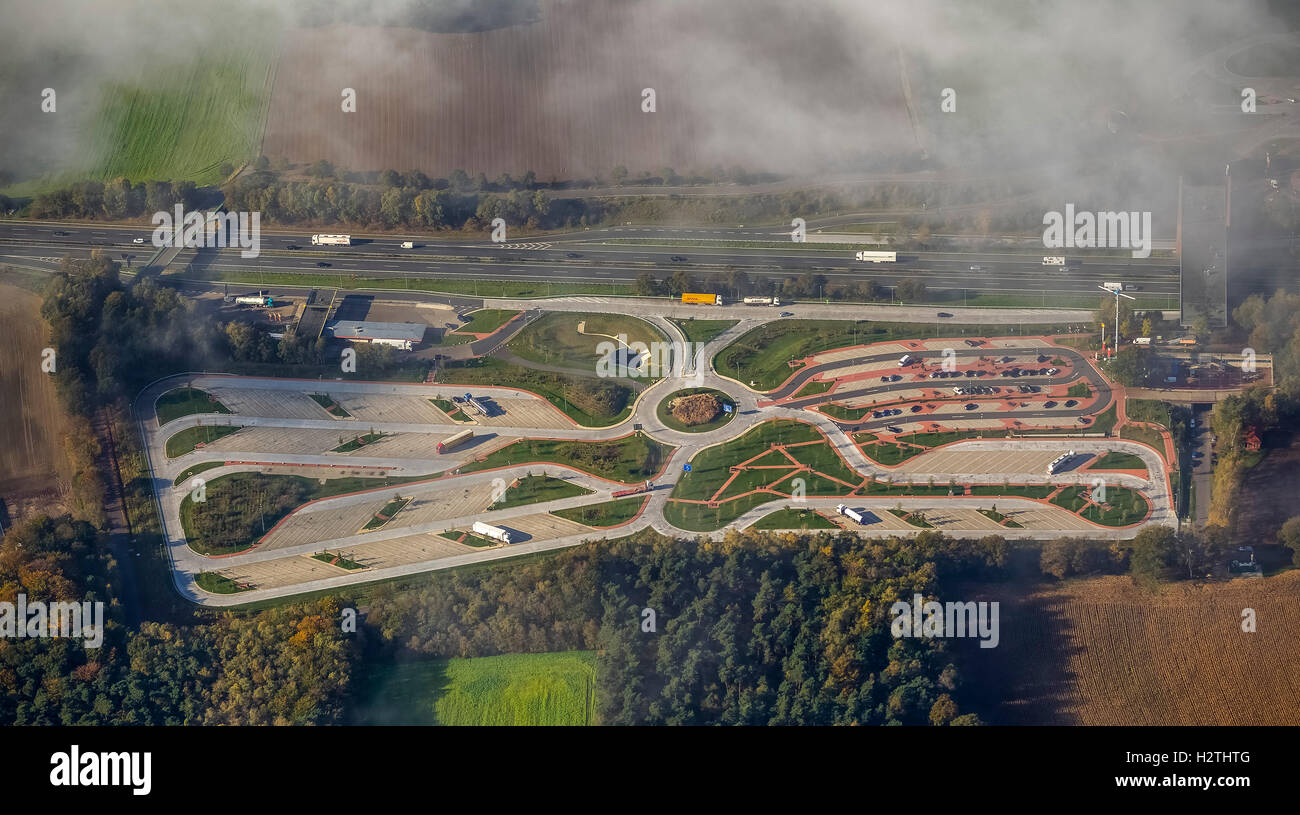 Aerial picture, resting place Dammer mountains eastern side, truck resting place, steering times, village Hol, Lower - Stock Image