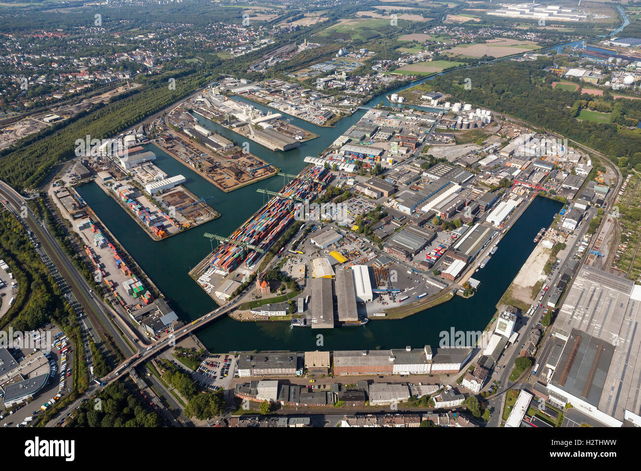 Aerial picture, harbour of Dortmund, town harbour, inland harbour, container terminal, Dortmund, Ruhr area, - Stock Image