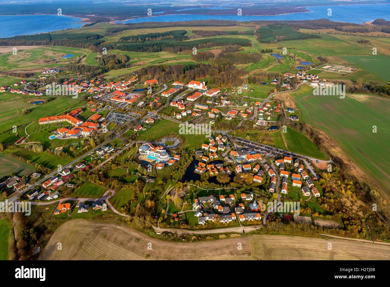 Aerial picture, Radisson Blu Resort castle Fleesensee, Scandinavian golf club with Göhren-Lebbin, Müritz - Stock Image