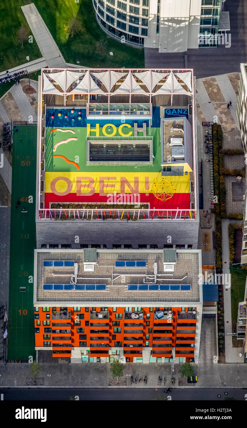 Aerial picture, sports facilities on a roof in the harbour city, Hamburg, Hamburg, Germany, Europe Europe aerial - Stock Image