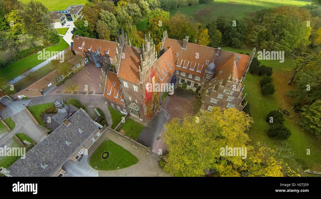 Aerial picture, schools field centre castle Heessen, lip meadows, school, boarding school, Hamm, Ruhr area, - Stock Image