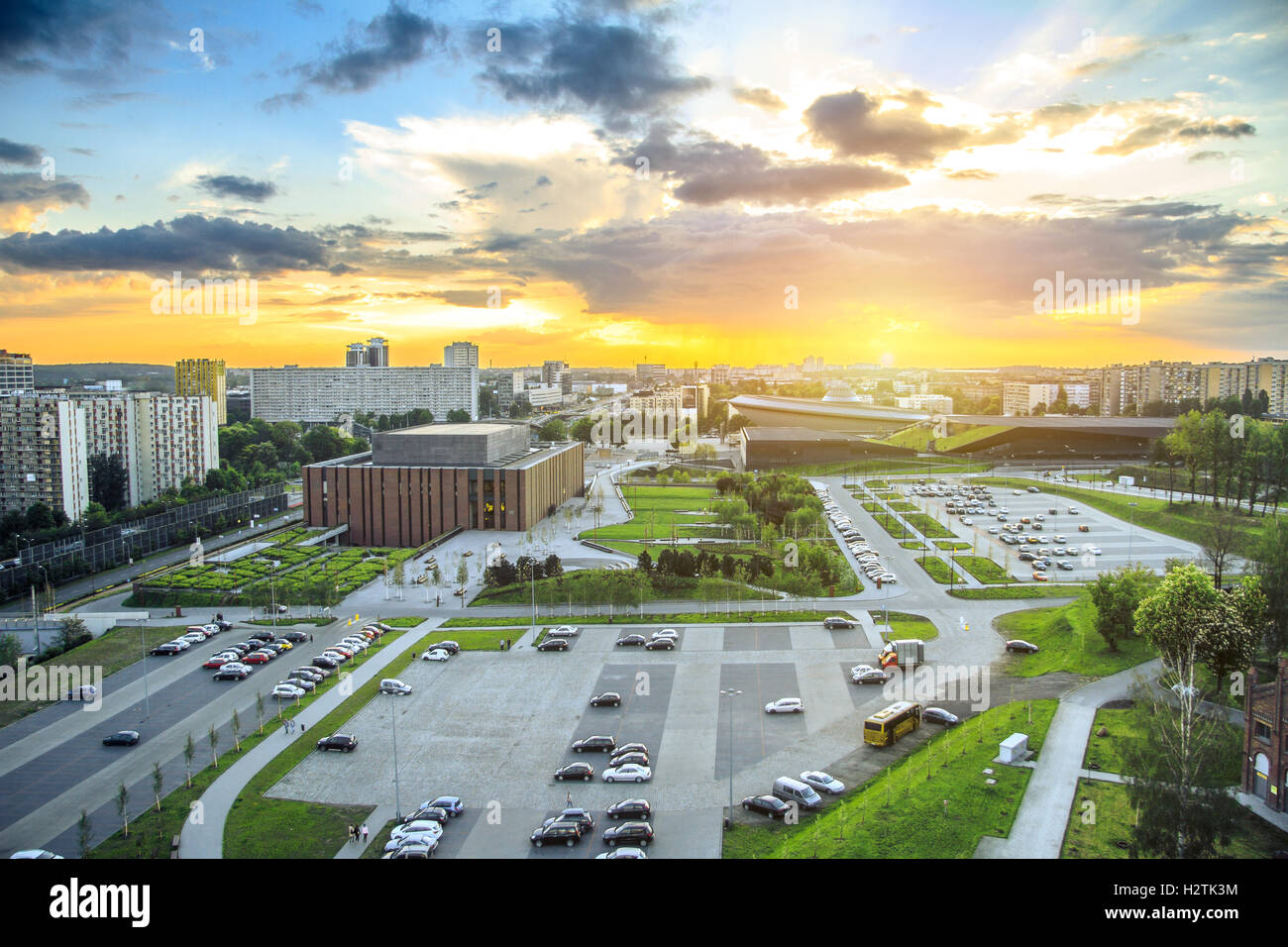 Amazing sunset over modern district of Katowice - Stock Image