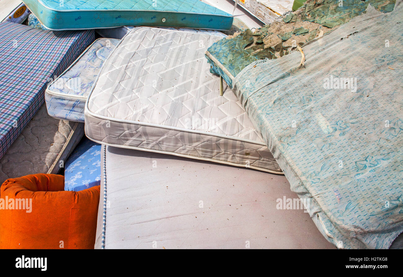 mattresses storage to recycle, recycling center - Stock Image