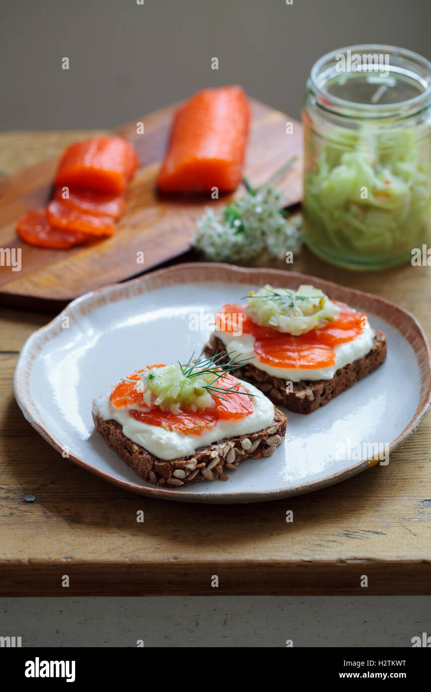 Scandinavian dark bread with cured trout , micro herbs, cucumber chutney and horseradish cream - Stock Image
