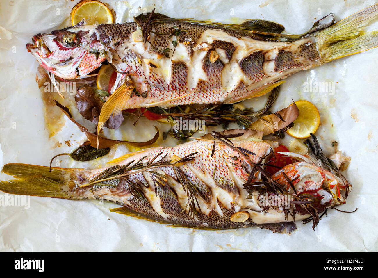 Roast red snappers with lemon, rosemary and garlic - Stock Image