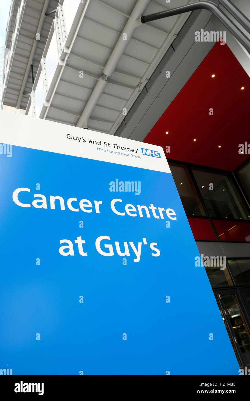 Cancer Centre at Guy's Hospital sign at the entrance of the new hospital in Southwark, South London, England, - Stock Image