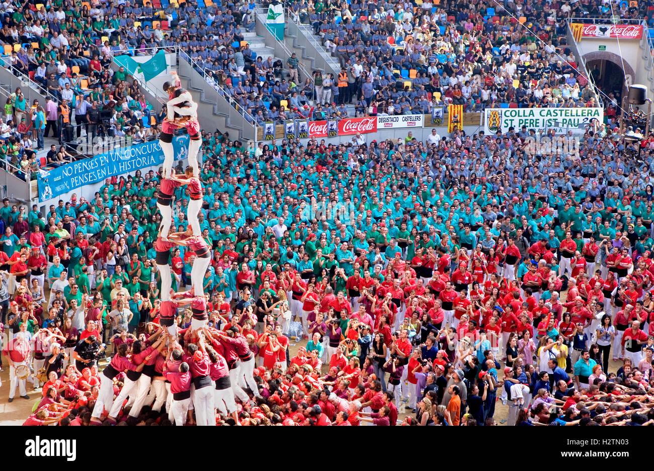 Castellers de Lleida.'Castellers' building human tower, a Catalan tradition.Biannual contest. bullring.Tarragona, - Stock Image