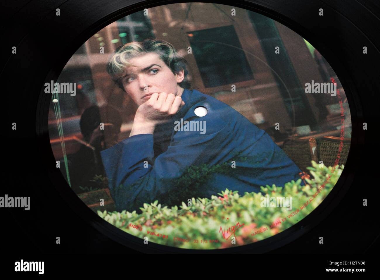 David Sylvian lead singer with the 1980s group Japan picture disc - Stock Image