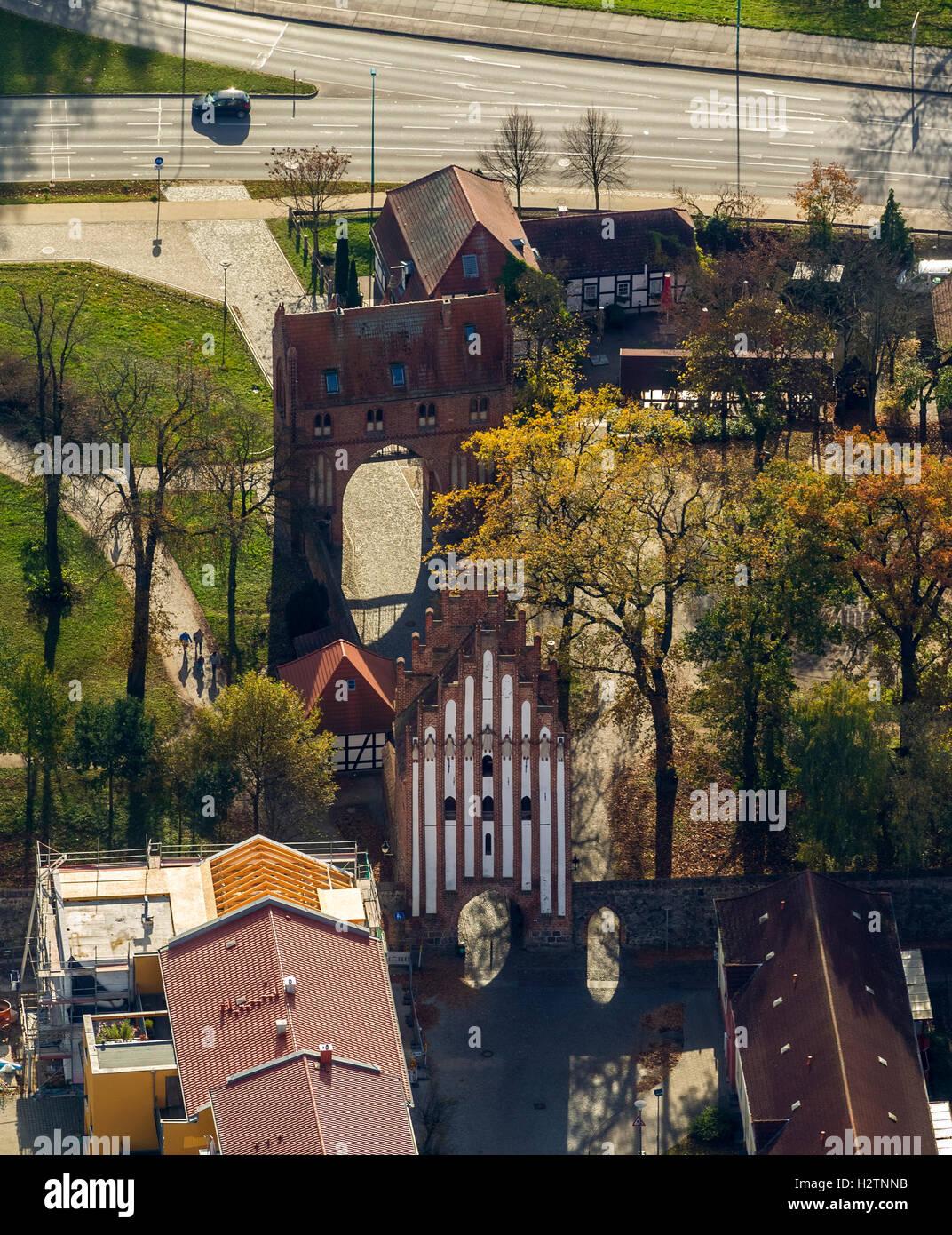 Aerial view, gate in the style of brick Gothic, Neubrandenburg, Mecklenburg Lake District, Müritz, Mecklenburg - Stock Image
