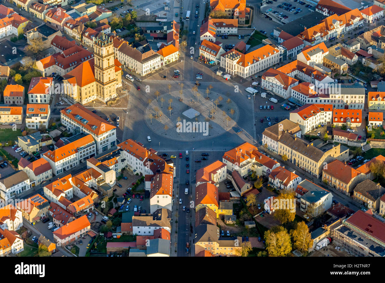 Aerial picture, marketplace Neustrelitz with traffic of a circle, place with eight axes and circular flower bed, - Stock Image