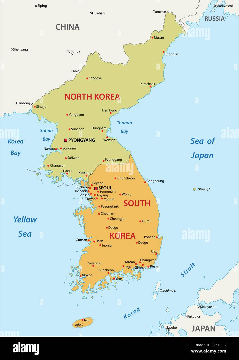 korean peninsula map - Stock Image