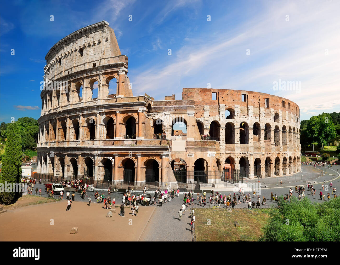 Beautiful roman Colosseum in summer day, Italy - Stock Image