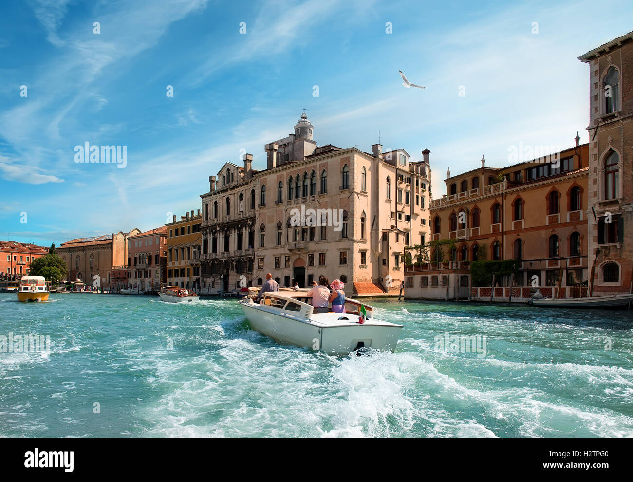 Warm summer day in romantic Venice, Italy. View from the bridge of Academia - Stock Image