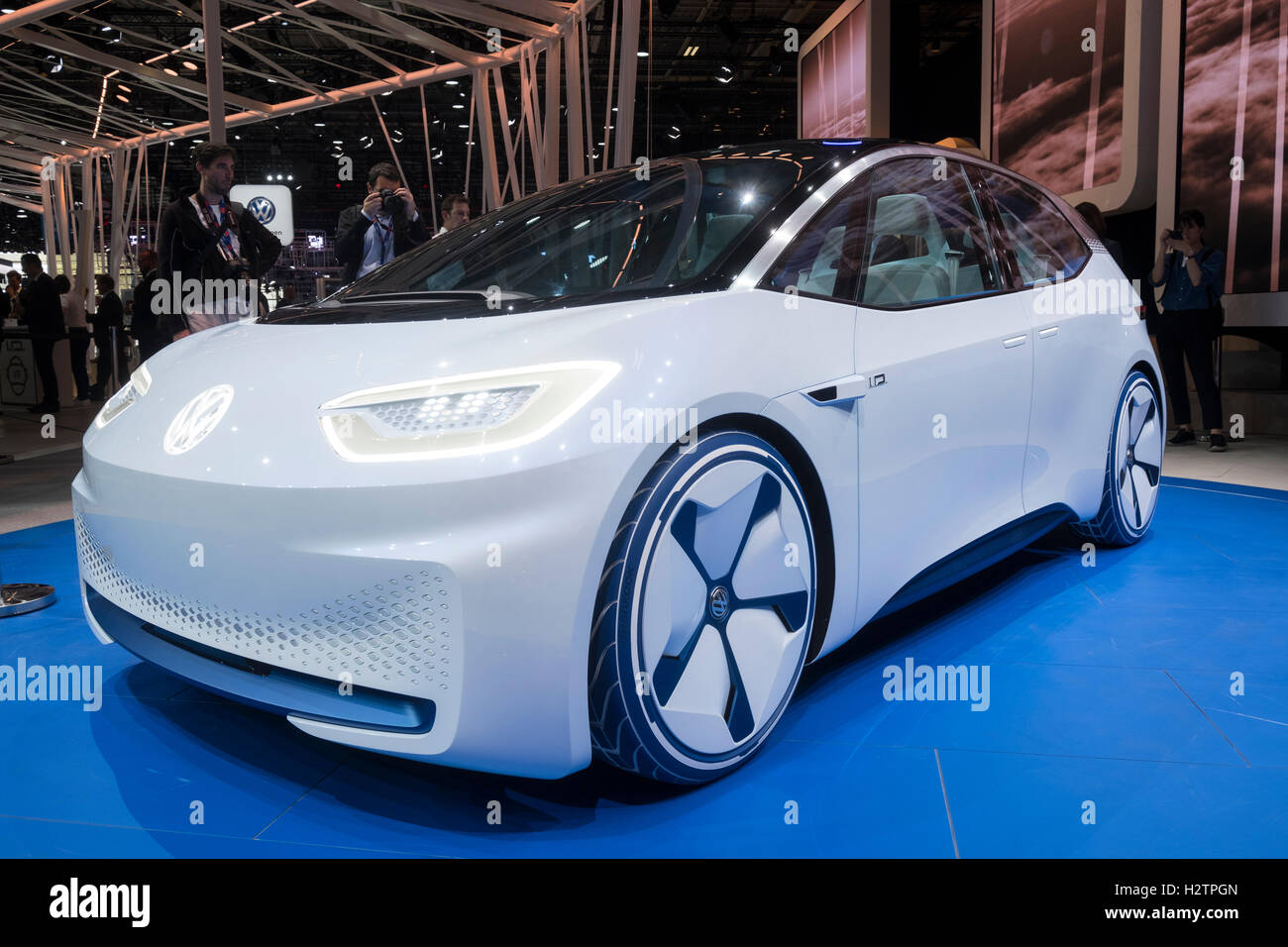 New Volkswagen ID electric plug-in concept vehicle at Paris Motor Show 2016 - Stock Image