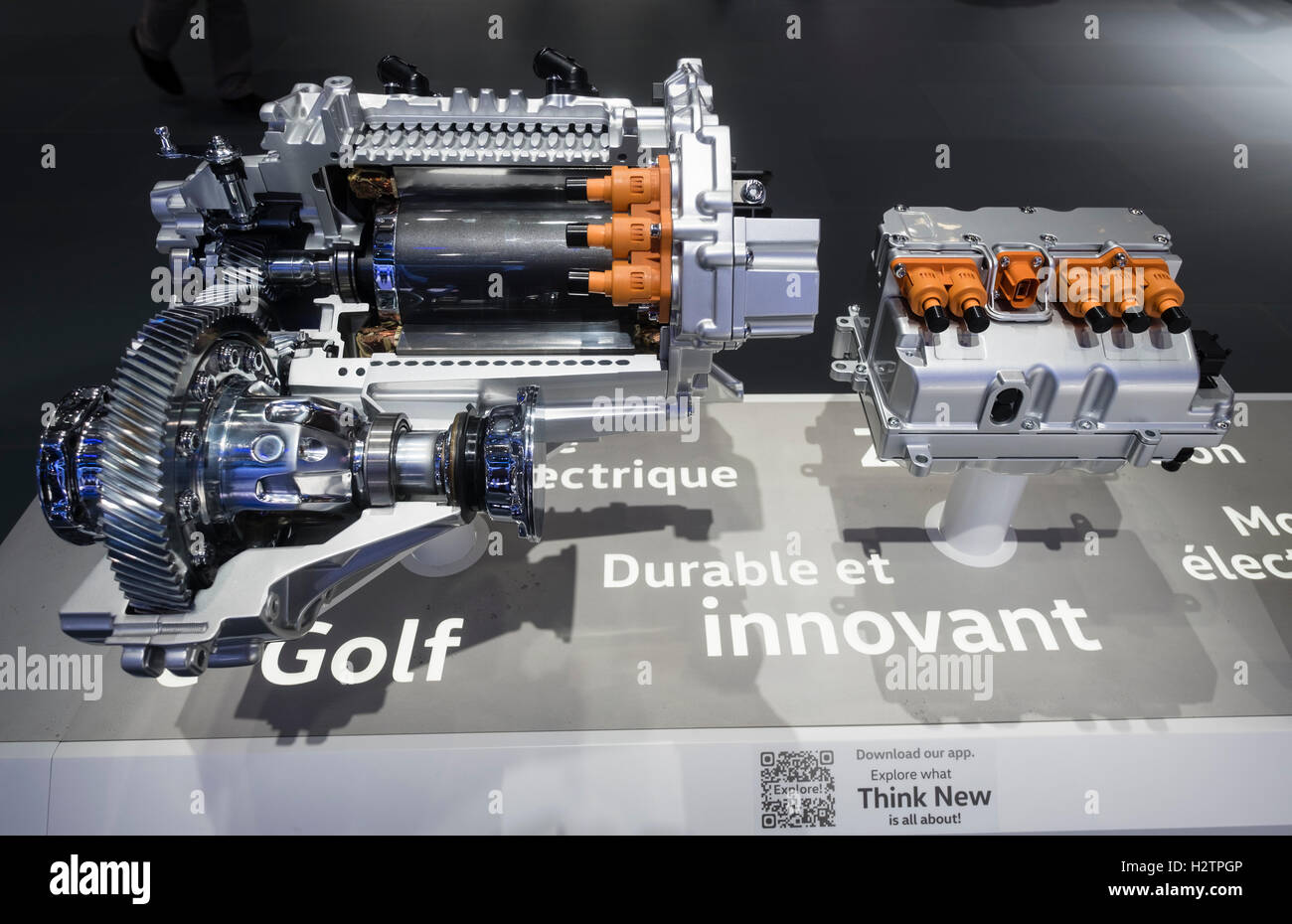 Detail of Volkswagen electric motor used in e-Golf Touch at Paris Motor Show 2016 - Stock Image
