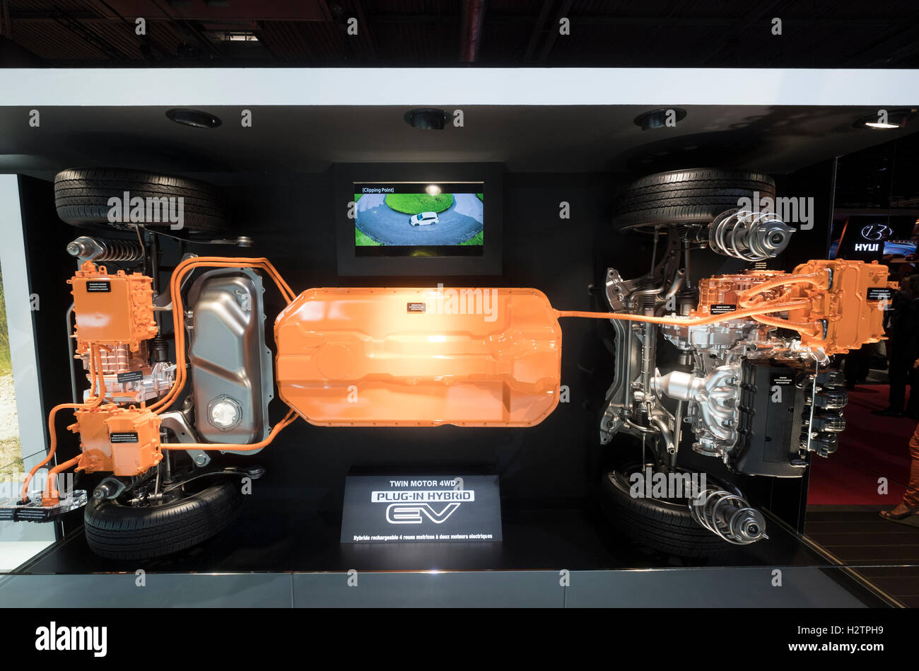 View of Mitsubishi EV plug-in hybrid crossover chassis and powertrain with twin motor 4WD for Outlander at Paris - Stock Image
