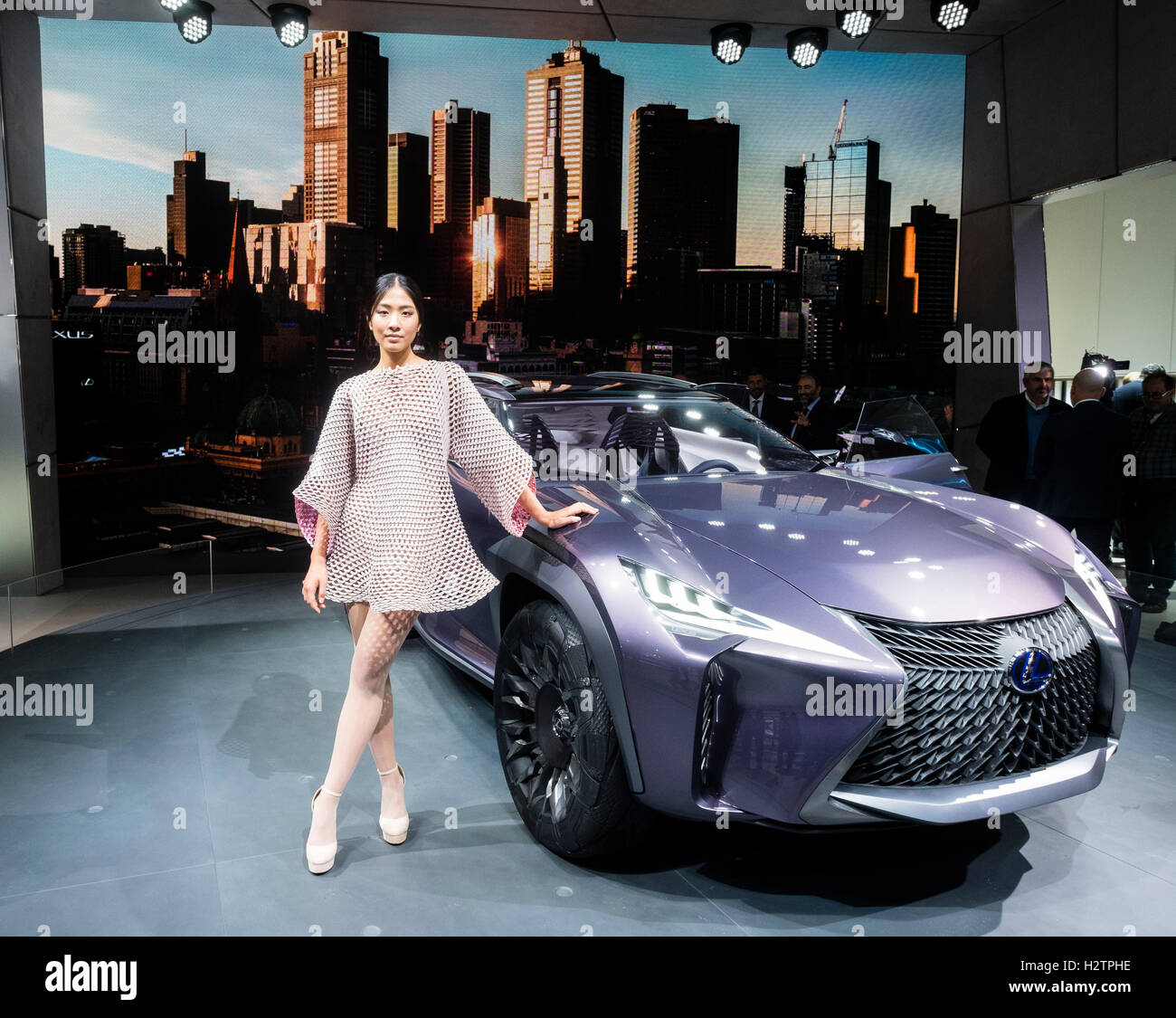 Lexus UX concept crossover vehicle at world premiere at Paris Motor Show 2016 - Stock Image