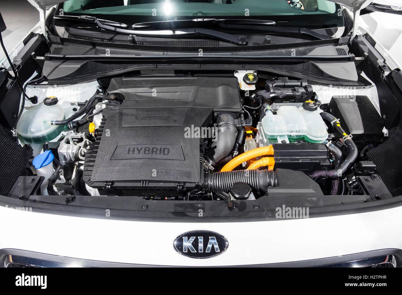 Detail of Kia Niro Hybrid engine at Paris Motor Show 2016 - Stock Image