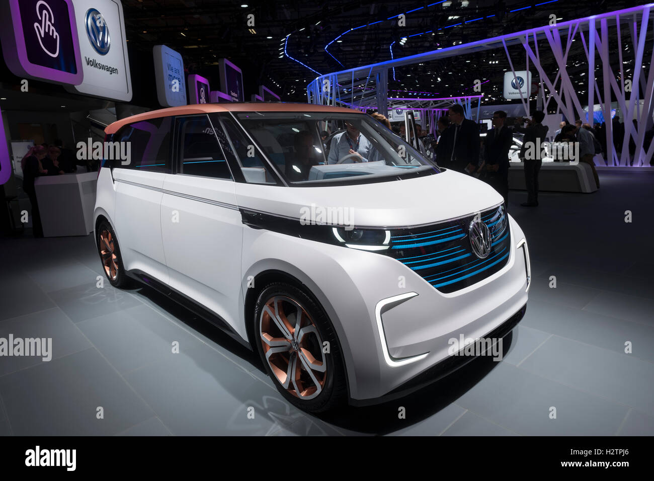 Volkswagen, VW Budd.E electric concept minivan  at Paris Motor Show 2016 - Stock Image