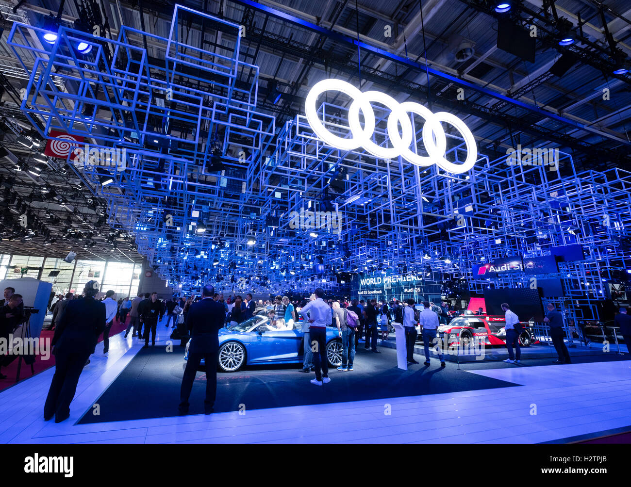 View of Audi stand at Paris Motor Show 2016 - Stock Image