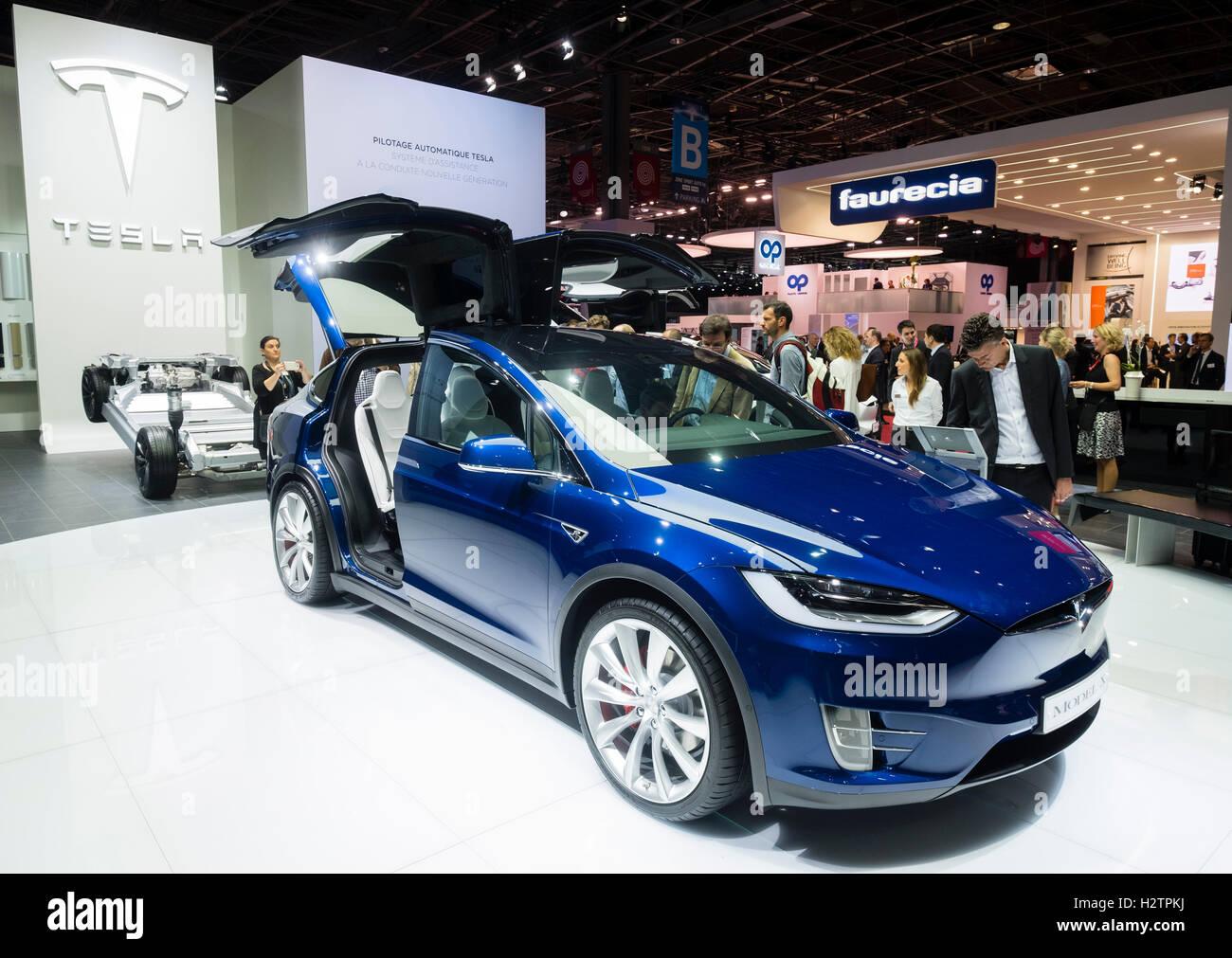 Tesla Model X at Paris Motor Show 2016 - Stock Image