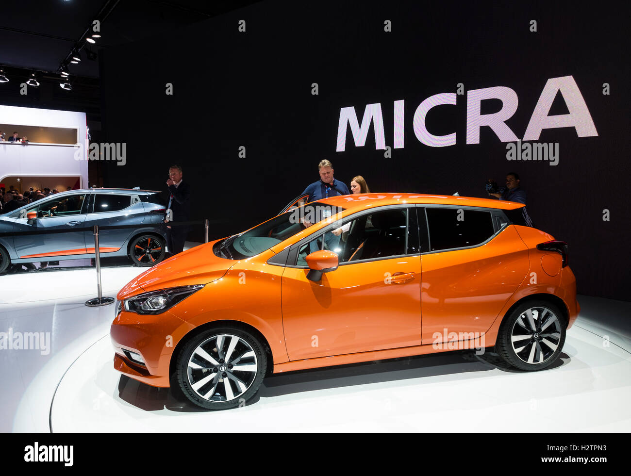 Launch of 5th generation Nissan Micra at Paris Motor Show 2016 - Stock Image