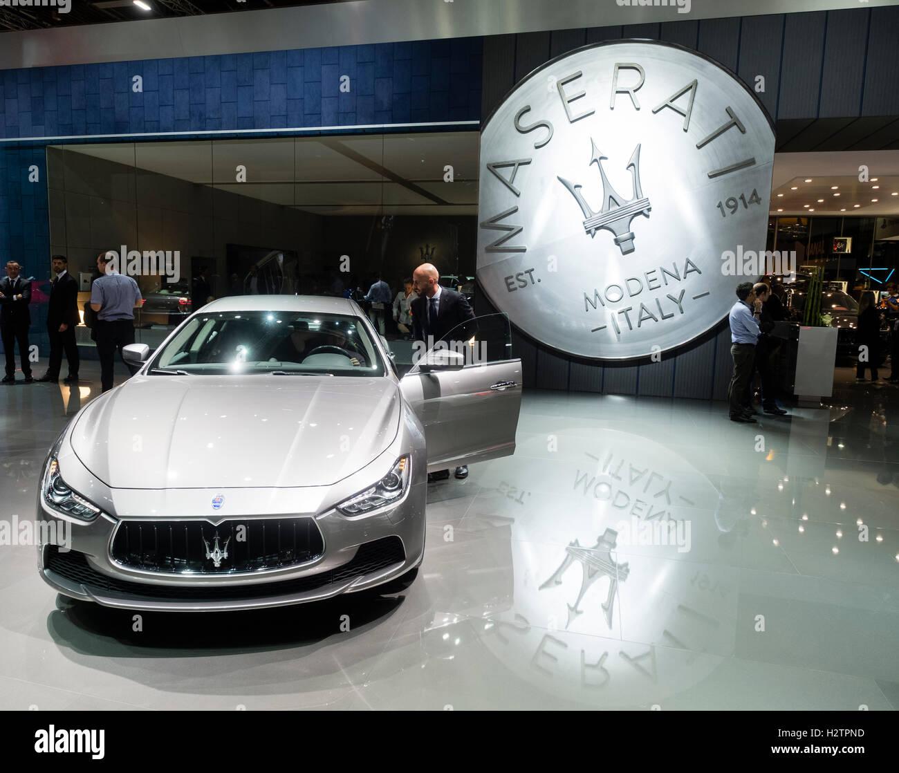 View of Maserati stand at Paris Motor Show 2016 - Stock Image