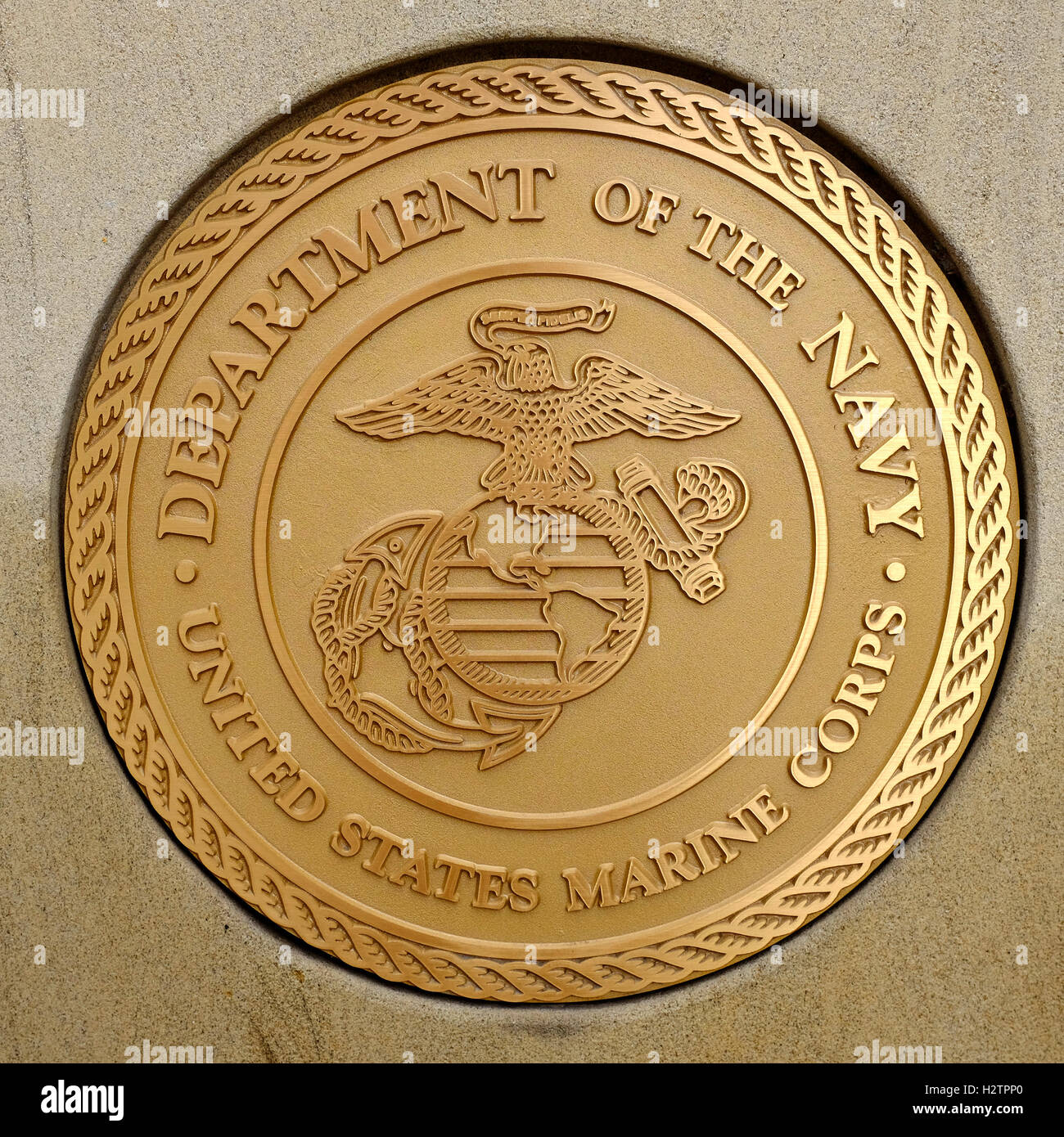 Detail of symbols of USA military army navy airforce marines Stock