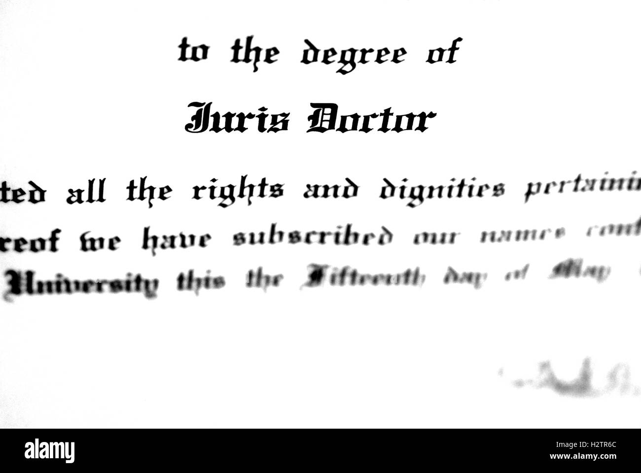 Close up of Juris Doctorate law degree certificate - Stock Image