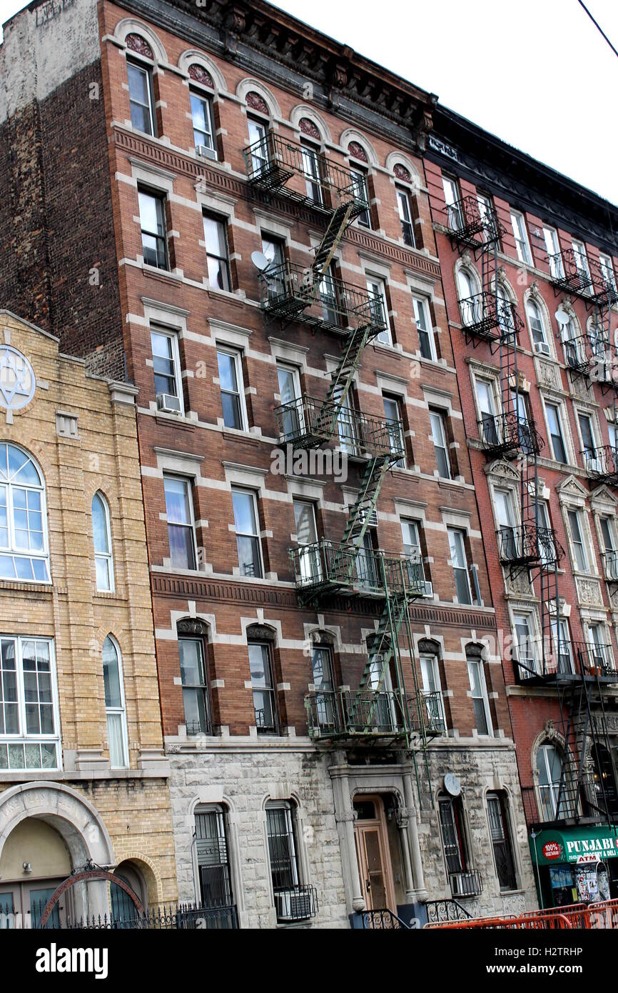 Old Red Brick Apartment Buildings In New York City