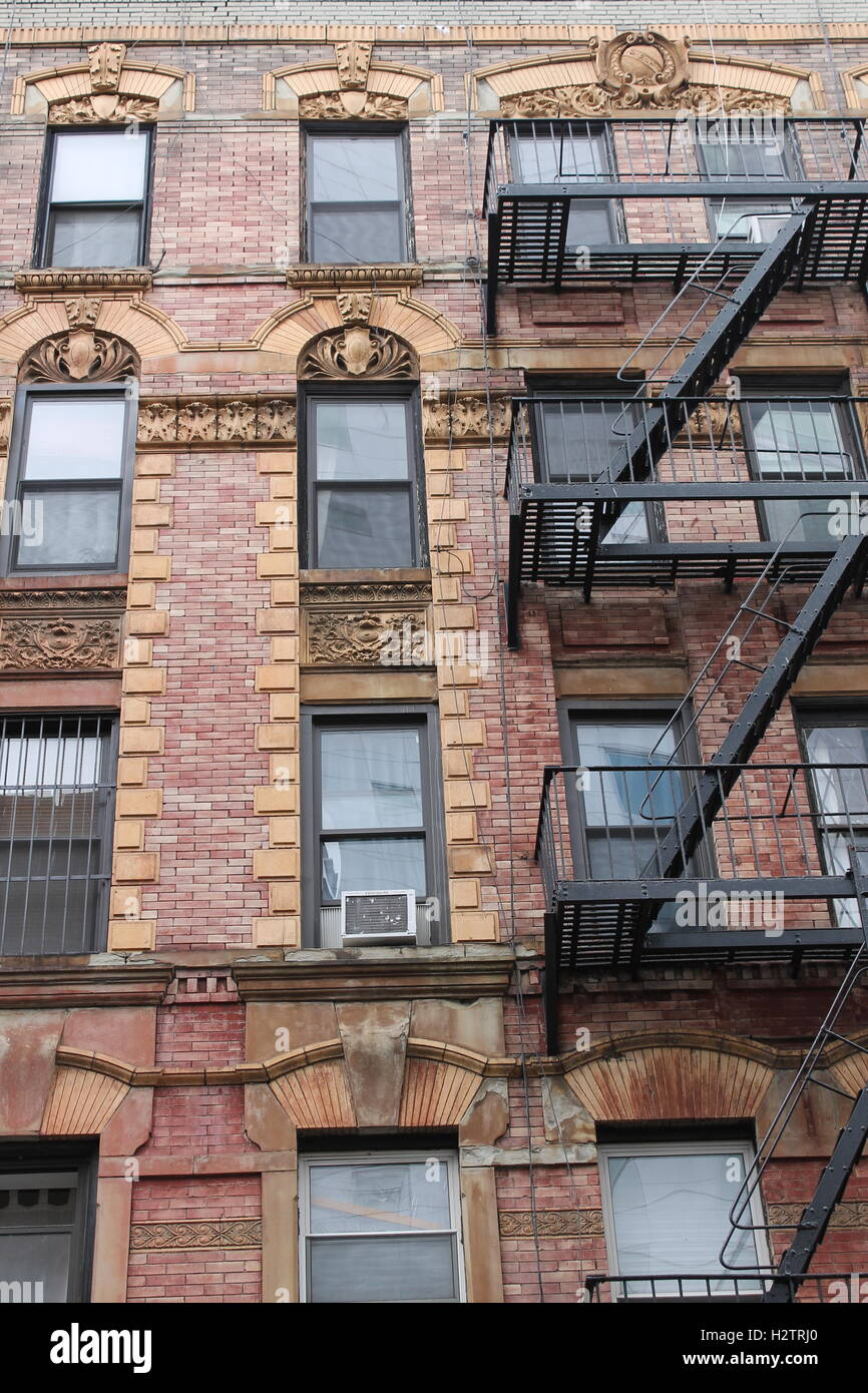 Old red brick apartment building in New York City Stock Photo ...