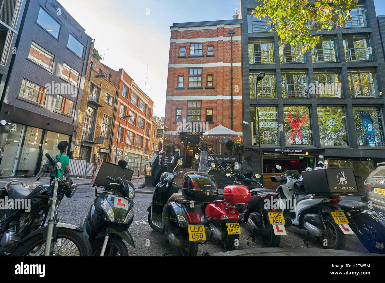 Hoxton square, scooter parking London,. scooters - Stock Image