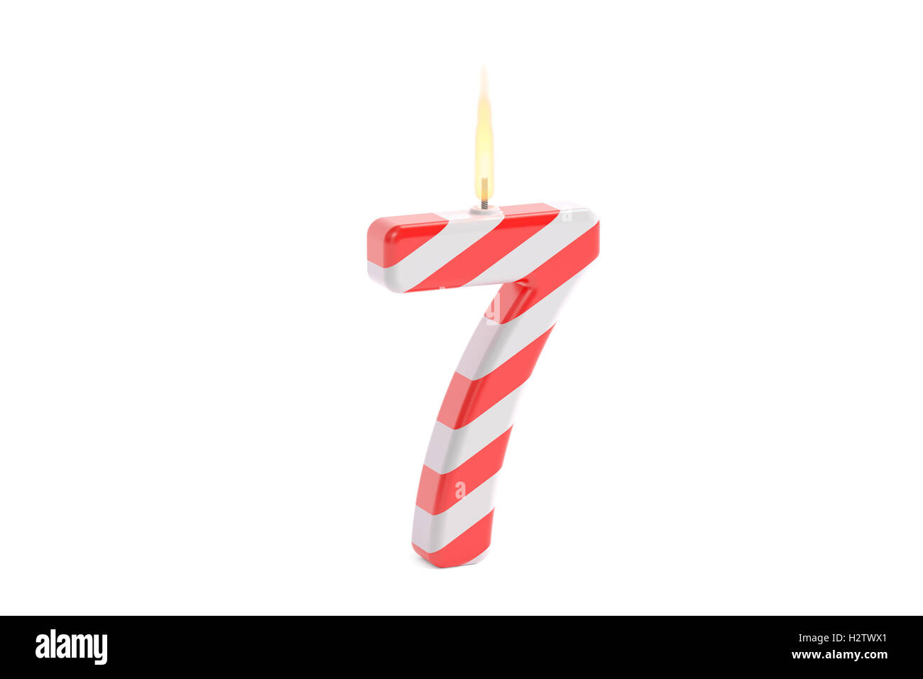 Birthday Candle With Number 7 3D Rendering Isolated On White Background