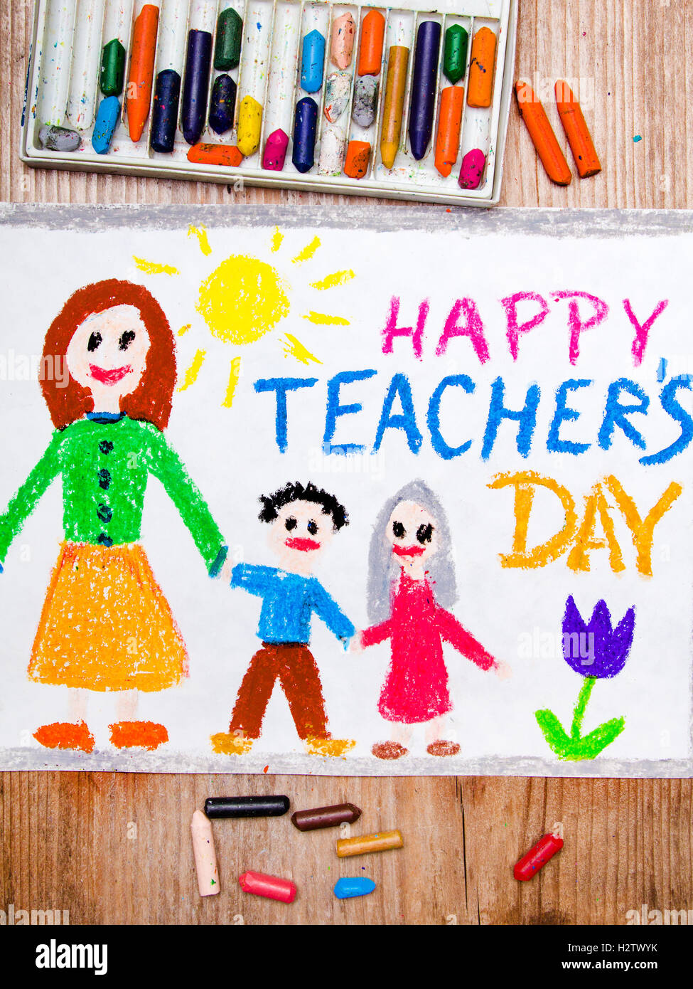 colorful drawing  teacher's day card stock photo