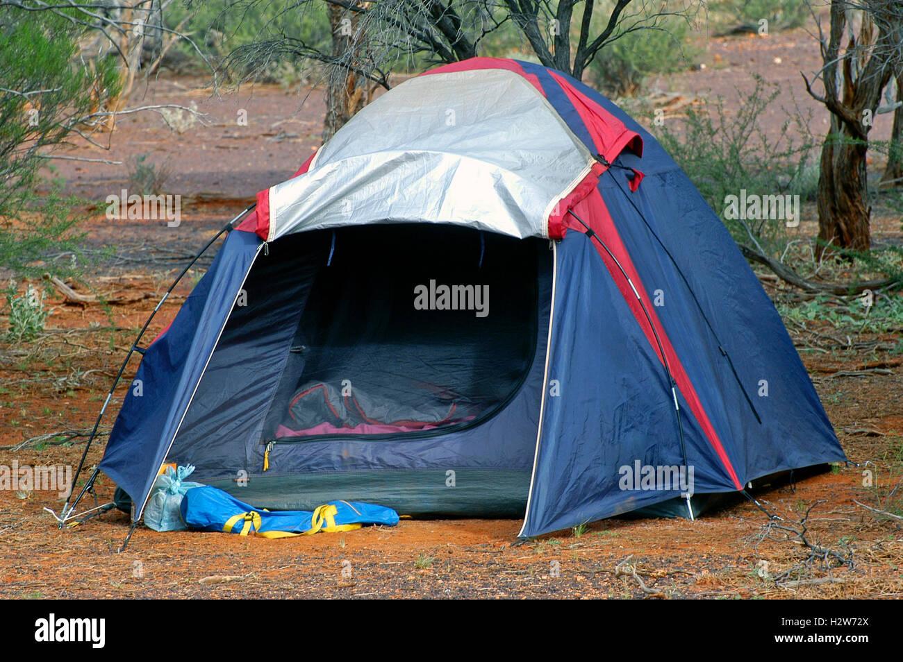 wilderness camping in the Australian bush Stock Photo