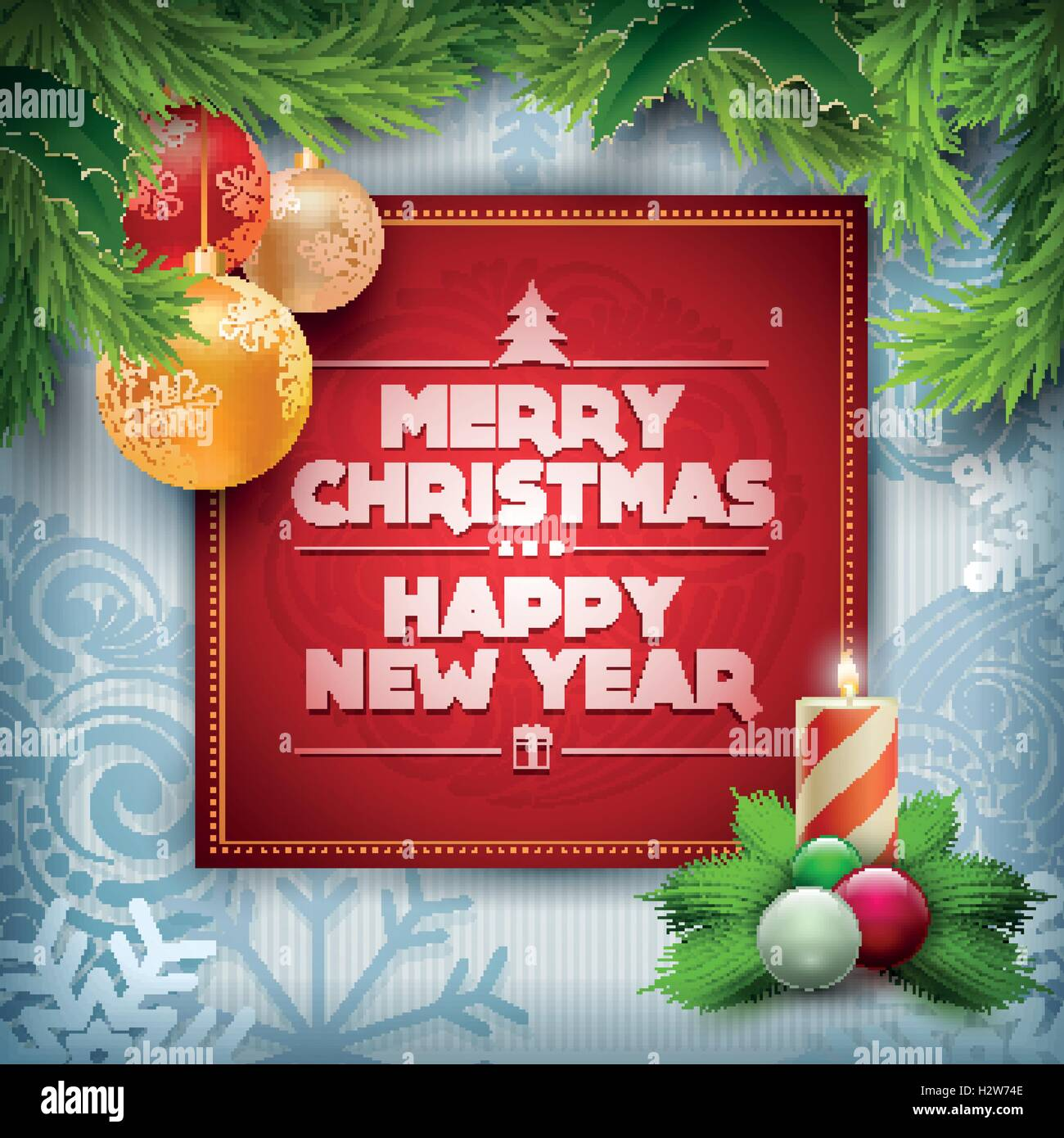 vector christmas and new year wishes on card christmas related ornaments objects on color background elements are layered