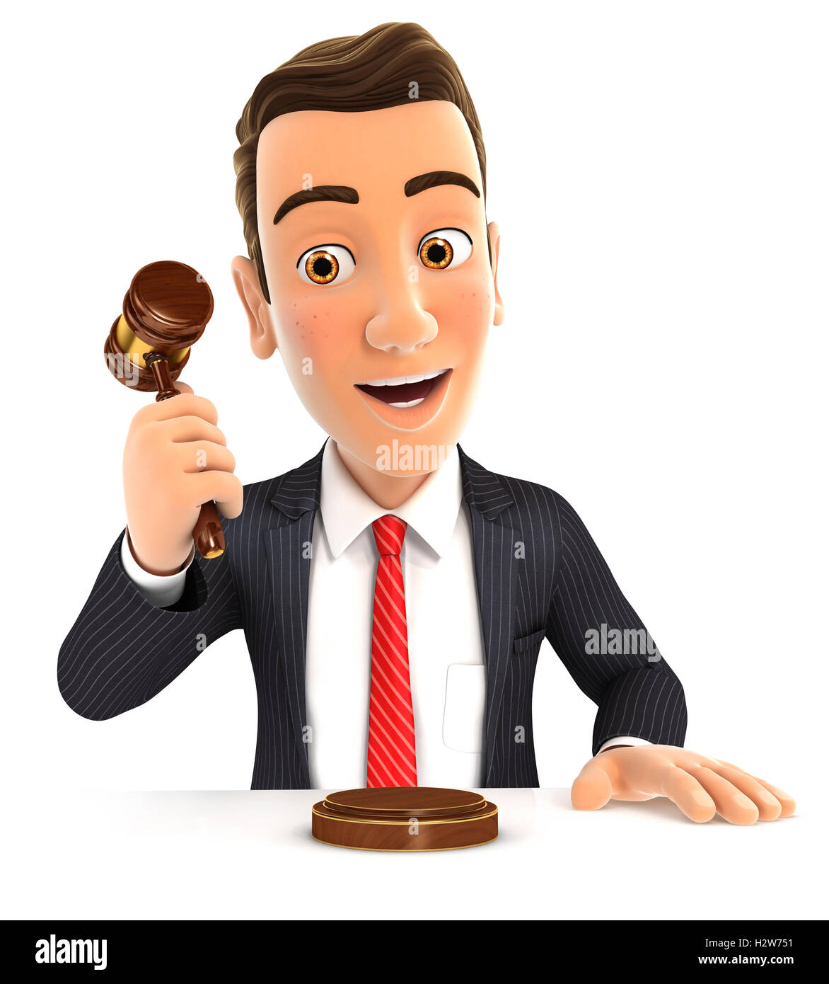 3d businessman hitting gavel, illustration with isolated white background Stock Photo