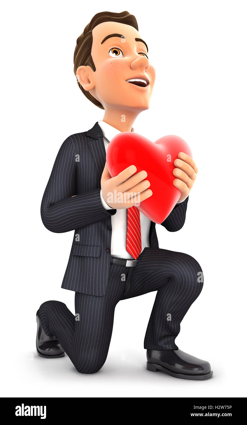 3d businessman in love with one knee to the floor, illustration with isolated white background Stock Photo
