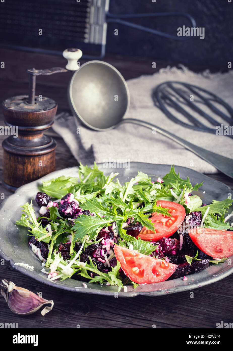 Beet and cheese salad on plate - Stock Image