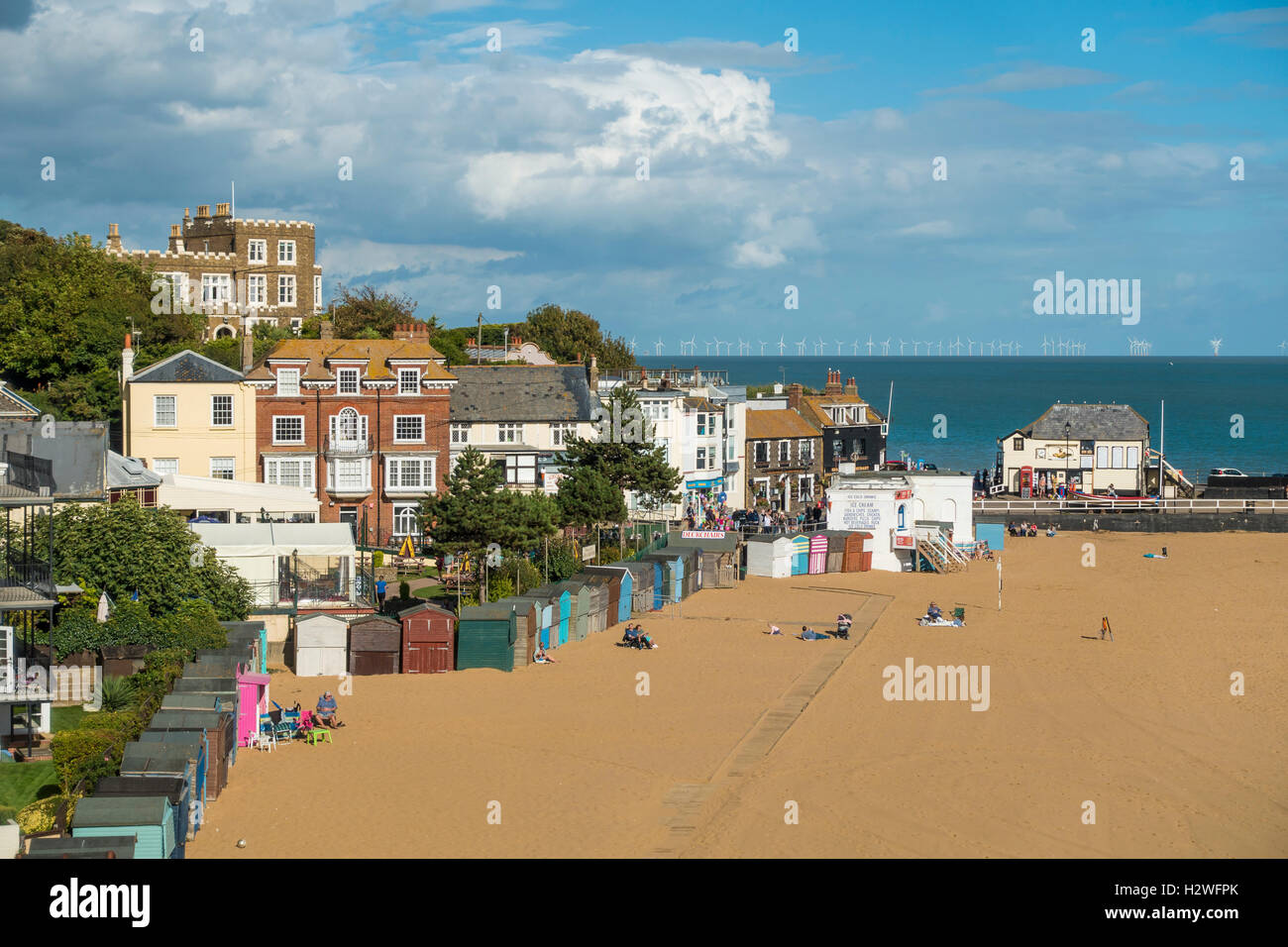 Broadstairs Beach Out of Season  Viking Bay and Bleak House - Stock Image