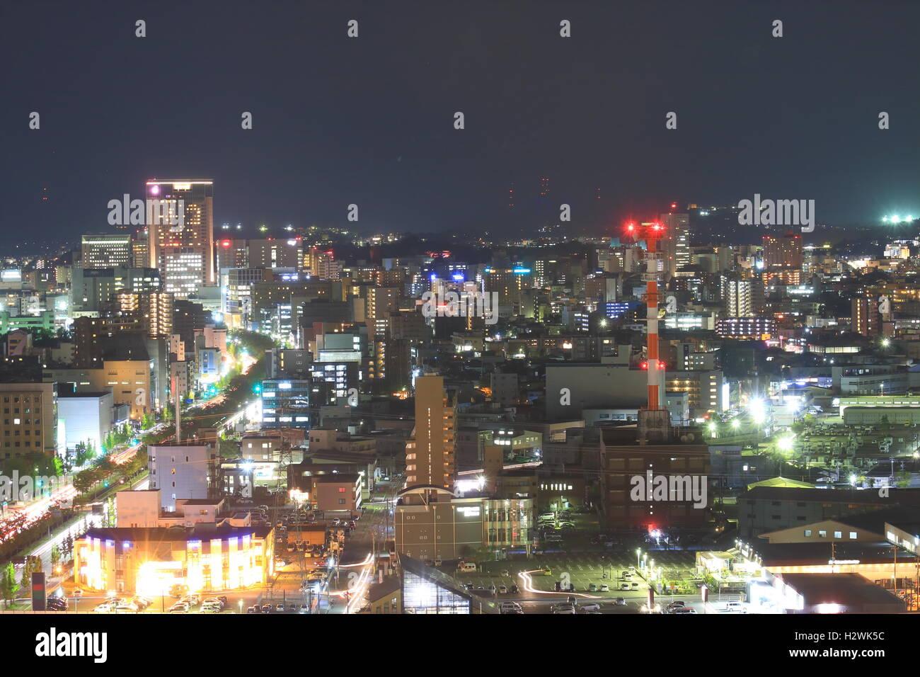 Kanazawa night cityscape view in Kanazawa Japan - Stock Image