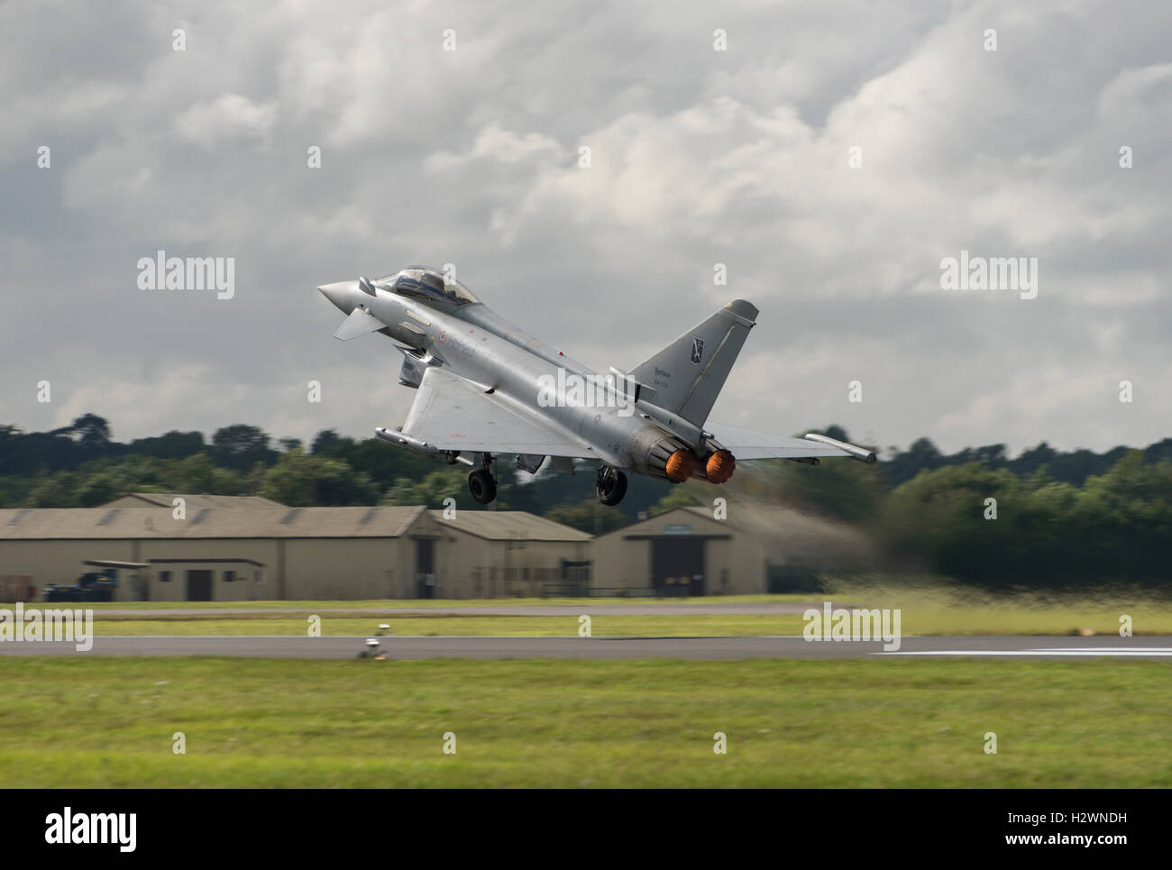 Italian Eurofighter Typhoon takes off from RAF Fairford in the Cotswolds to display at the 2016 Royal International Stock Photo