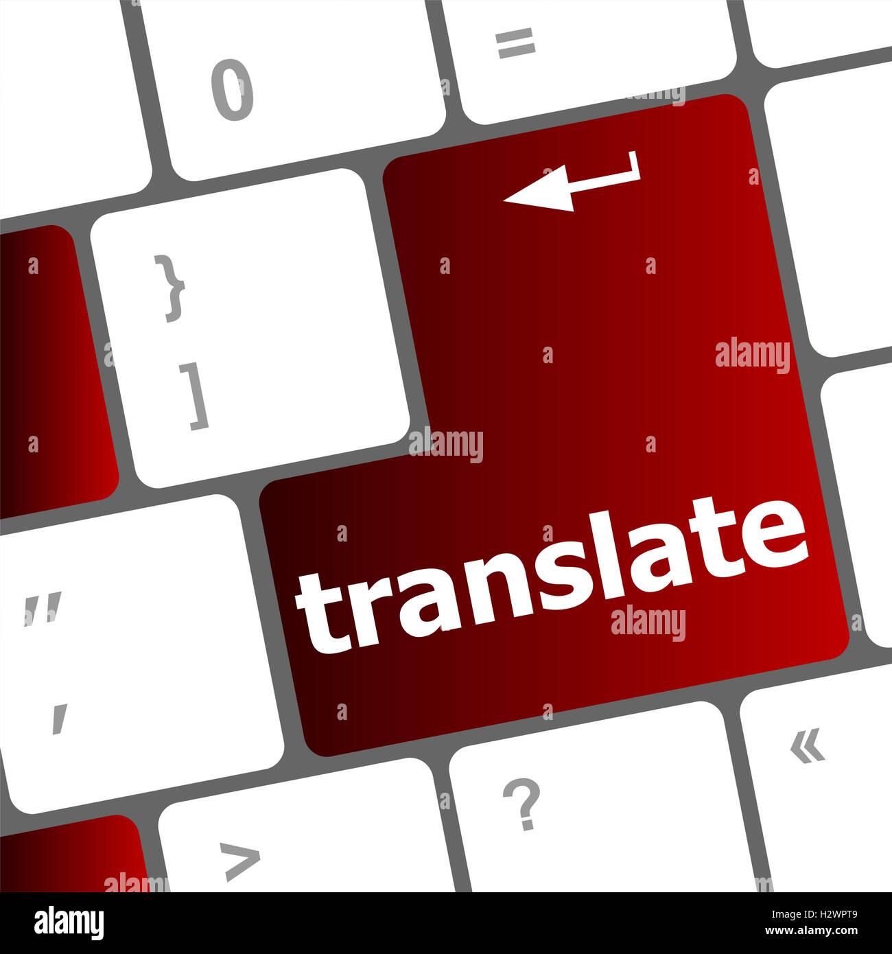 Multilingual translation on-line concept. Close up of multi language keyboard and translate word key - Stock Image